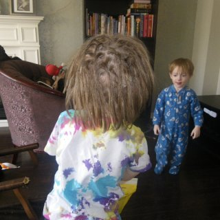 ended up dreading my 3 year olds hair before mine...lol I did twist and rip on him...took a few days doing a little each day. and here they are finished.