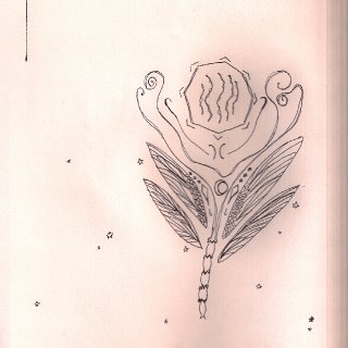 this was a madlib sort drawing, Freddy and Horse told me anything and i drew a flower comprised of those words.  word list: octagon, lasagna, collar bones, 'the softness of snow', dragon fly, diamonds, the midnight sky, and leaf