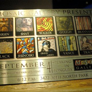 group show plaque at mosaic wine bar and gallery in san diego