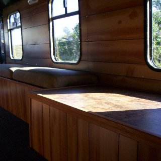 table and seats and windows