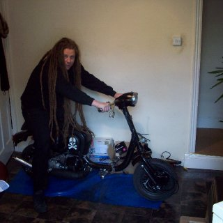 me on my alm,ost finshed lambaretta rat ratbike ive been building or skelly bike depending on where your from.