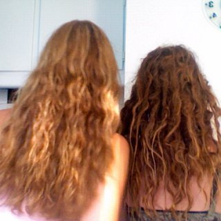 my hair at 5.5 months, next to my twin sisters
