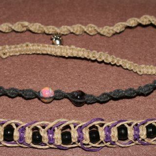 assorted hemp bracelets