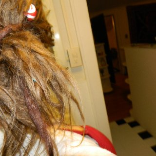 dyed with koolaide. the one thats wrapped around like a hairtie is Red and the on that is poking out of the ponytail is purple...well it was supposed to be purple, it kinda turned out purply red.
