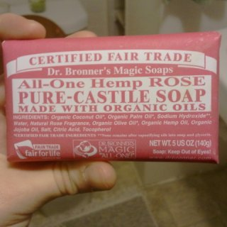 I have hard water so i alaways get the bar if i get dr.bronners. Ive tried peppermint, almond and laveneder, and now this one. I only recommend Lavander and Hemp rose from the ones ive had. peppermint burns and just wasnt a fan of almond. and the wrapper on this one is pink!