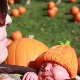 Me & Sophelia (9 days old) at the pumpkin patch