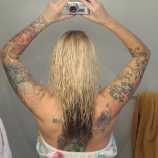 just getting ready to start tnr. Last picture of my soft hair (blonde on top, dark underneath)