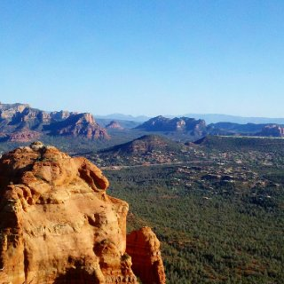 View from fridays hike up atop mitten ridge looking down on my little town sedona :)