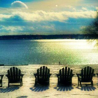This was shot during winter at the beach. Instead of sand on the beach, that is snow.