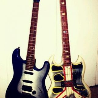 These guitars are 2 of my most beloved things in life. My brother made both of them from scratch and never had a chance to finish them before he passed.