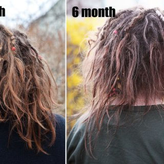 My hair is so short now, it's really shrinking alot. I know that this is a part of the process and I'm sure it will be all good in the end, but right now I think my hair looks like a rats nest. It's not pretty...but luckily the journey continues and a new phase will come along shortly (I hope).  The second pic is a week short of 6 months but I was to lazy to type that. I also noticed just now that I was to lazy to type the s at the end of months... ;-)