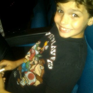 My son Devlin and I at the cinema waiting to watch Pirates! Band of Misfits