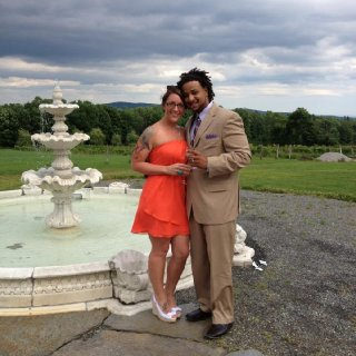 My beautiful wife and i at a Vermont wedding.