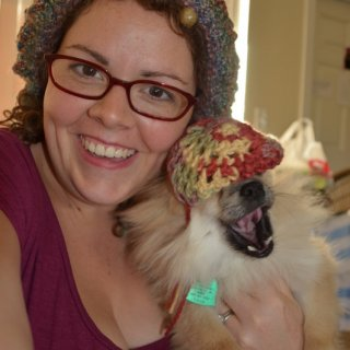 Made a little tam for my pomeranian. :) I'm having lots of creative fun this week.