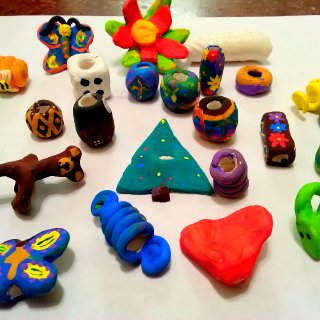 My husband helped me make clay beads for my hair. It was a lot of fun as a creative outlet.