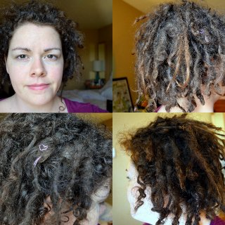 12 weeks, technically, since I first tnr-ed my hair. Not a lot of changes that are obvious since a month ago. Some tightening of the ends of the ones on bottom. The top layer is slow to dread. And I have a lot of loose clumps... or new growth, I can't tell.