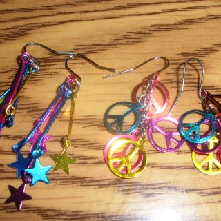 These two pair are my favorite sets of earrings colorful Stars and the Peace Sign.