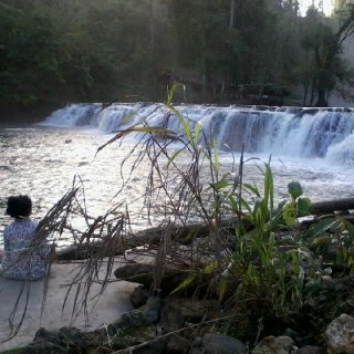 Lower part of the falls.  And yes - that little person over the left side is me. I was meditating that time, gotta love the sound of the falls while meditating! :D