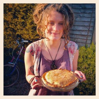 dreads up and i cooked a pie yum