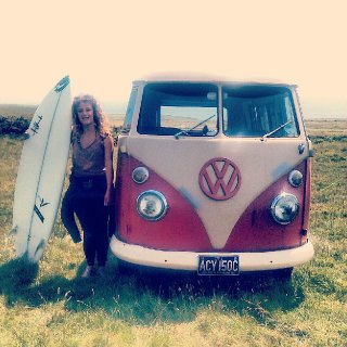 I wish this was real but it was all for a tv series I was filming on yesterday! I wish I could swim and Surf. The van is awesome too