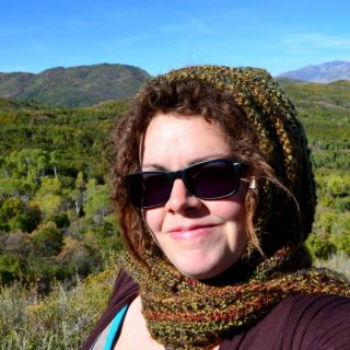 It started to get cold, and I realized I hadn't packed any of the previous scarves I made last year, so I made this hooded scarf from a pattern I found online. The backdrop is about 30 minutes away from Salt Lake City.