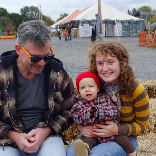 at the pumpkin patch with my dad and my niece, peyton