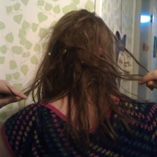 My little rats nest. Firts time I actually seen the back of my head since I started neglect.