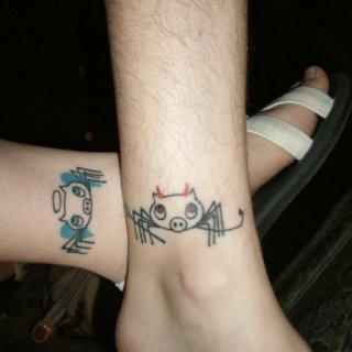 best friend tattoos!! (I have the hairy leg on top)