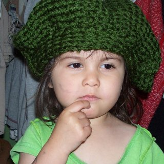 Maylee had to try on my green tam. She is so cute!