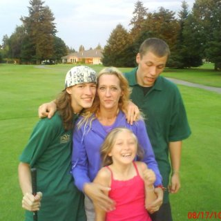 Golfing with our mom :) first day in 5 months i had a good day, first day in 5 months we gotto see her more then a hr a week, and out of a small double sided mirror room. ( This is my family )