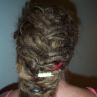 Photos of my 8 month dreading time line. I put my hair into a fish-tail braid. peace