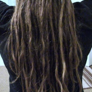 here's the back of my locks in all of their glorious messiness. :)