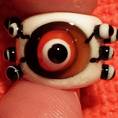 CLEARANCE  Flameworked Glass Dreadlock Bead  Eyeballs
