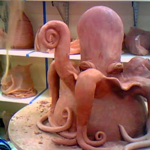 unfinished octopus sculpture, bad webcam photo.