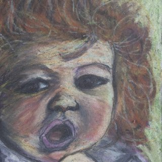portrait of my sister abby when she was 2 oil pastels on paper