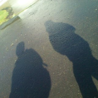 accidently took a pic when i was walking and it came out our shadows lol