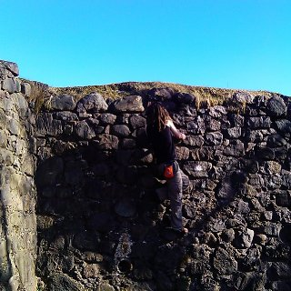 bouldering on the old fort in fort william, brillaint wall, really hope i get to climb on it again!