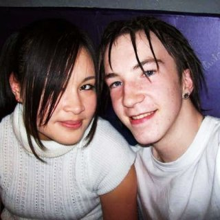me and my ex gf, now still a good friend :) very shortly after i had my dreads started with back coming and wax, but now i have gladly converted and im pretty sure ive almost got all the wax out of my hair, and this is 3 years later haha