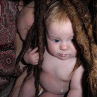 Playing in mommys dreads