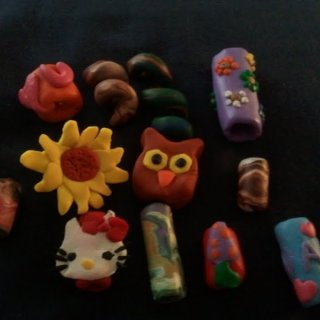 Here are some beads that i made out of clay. Still new and learning but I love it.