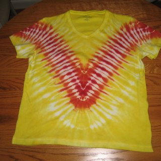 yellow with orange and red v