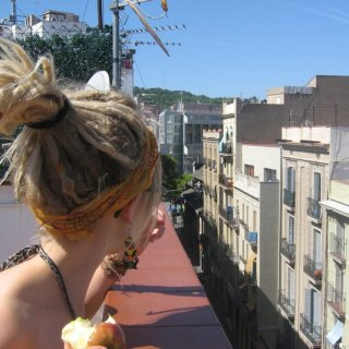 Me and my apple on the roof of our hostel in Barcelona.