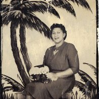 "Apokni (""Grandma"" in Chahta/Choctaw) and the palm trees"