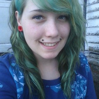 This is when my hair was green. This is my hair and it's naturally curly.