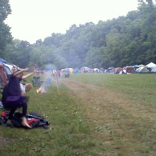 Setting up camp, these were our neighbors. This place got SO crazy come nightfall with 20 drums goin & a huge fire with so many glowing people