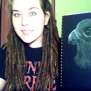 Here is a pic I drew that was supposed to be a falcon but ended up looking nothing like the reference picture. Haha. Crappy webcam quality :P