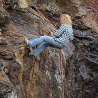 Belaying a rock face in North Georgia