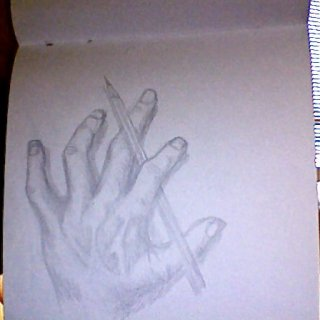 just stared at the paper and got the idea while my hand was there...