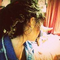 Nagini chillin in my dreads