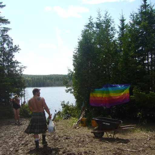 My best bud (in his kilt) at the main circle and lake